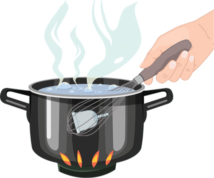 Lồng cốc nguyệt san vào bên trong dụng cụ đánh trứng giúp tránh được tình trạng cốc chạm đáy nồi gây hỏng