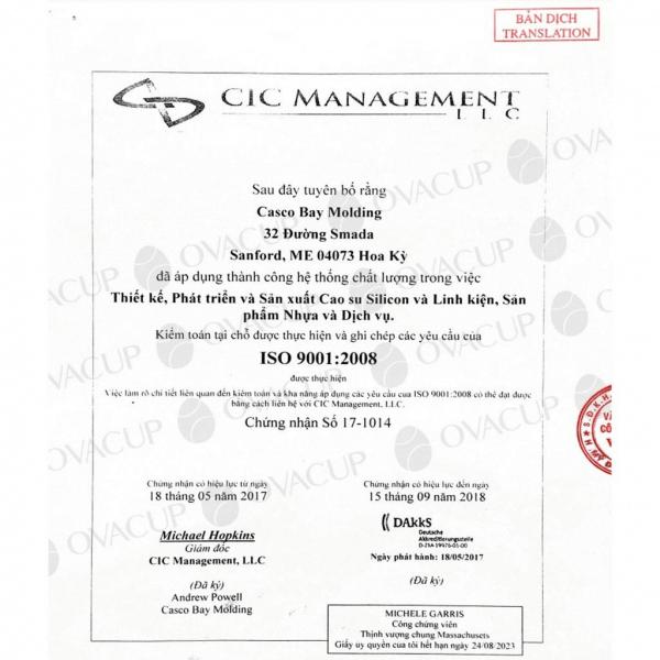 Giấy chứng nhận Nhà máy sản xuất Casco Bay Molding đạt chuẩn ISO 9001:2015