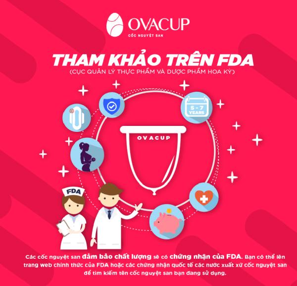 Cốc nguyệt san Ovacup với 100% nguyên liệu là silicone y tế, sản xuất tại Mỹ và có giấy chứng nhận an toàn của FDA