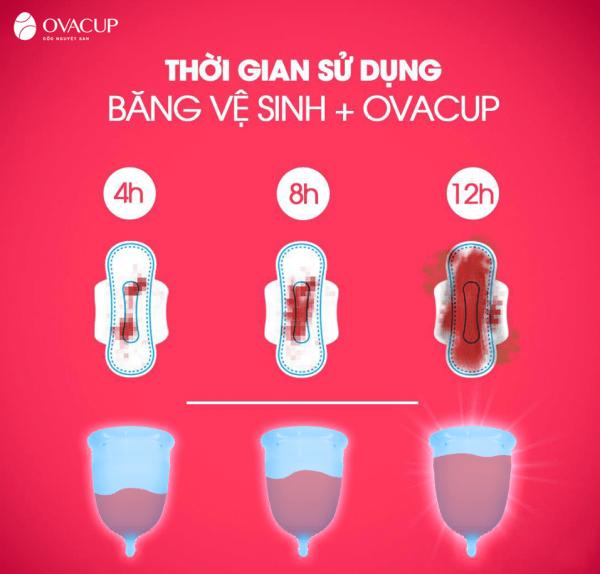 Cốc nguyệt san Ovacup có thể sử dụng liên tục trong 12 tiếng mà không lo rò rỉ hay bị tràn như băng vệ sinh