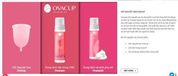 Giao diện mua hàng trên website ovalady.com